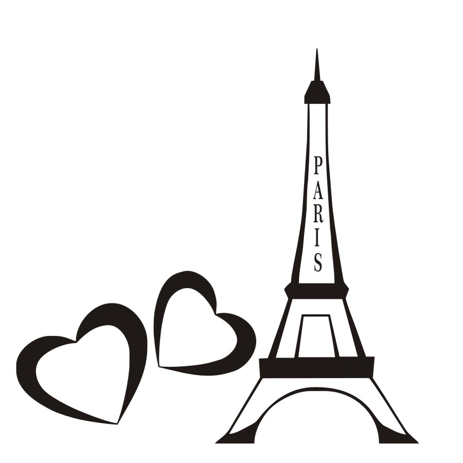900x900 Double Heart And Eiffel Tower Wall Sticker Living Room Romantic
