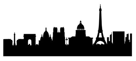 435x195 Famous Silhouette Art Paris Skyline Wall Sticker