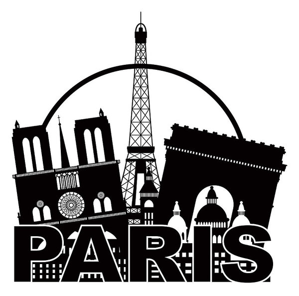 600x594 Paris City Skyline Silhouette Circle Black And White Illustratio