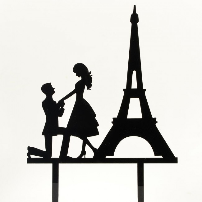650x650 Paris Engagement Proposal Bride Amp Groom Wedding Day Cake Topper