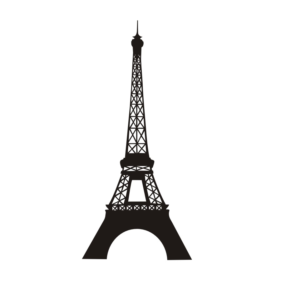 900x900 Paris Landmark Eiffel Tower Silhouette Wall Sticker Vinyl