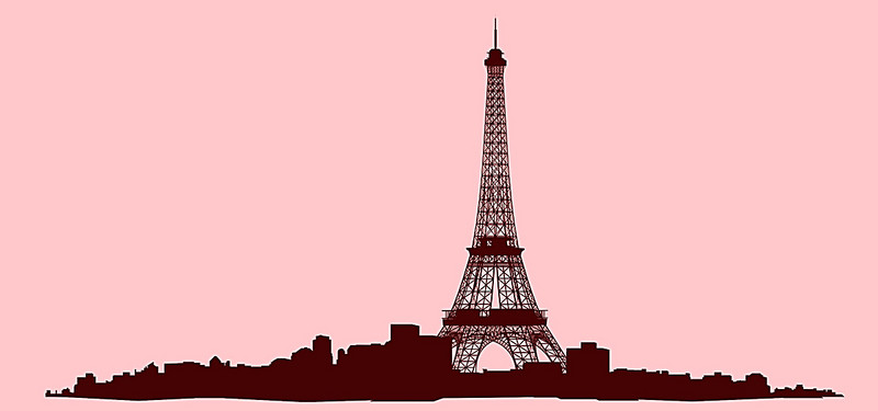 800x375 City Silhouette,paris, Pink, Romantic, Simple Background Image