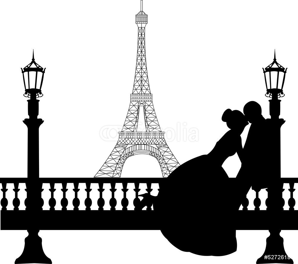 1000x887 Wedding Couple In Front Of Eiffel Tower In Paris Silhouette Wall