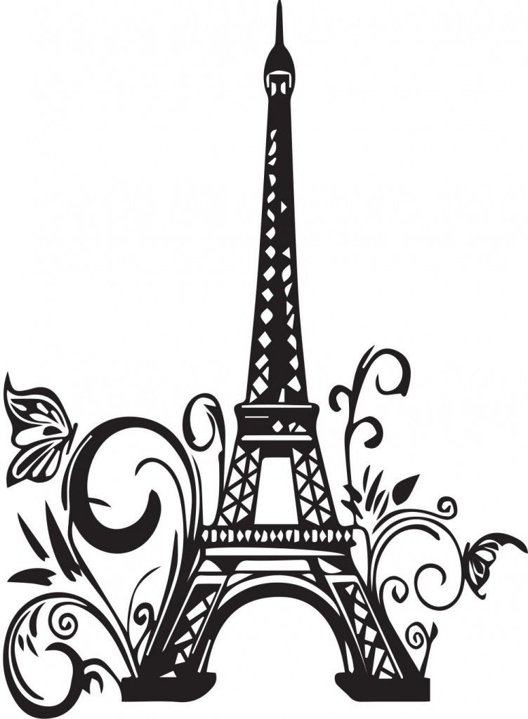 752x1024 Paris Eiffel Tower Silhouette Wall Art Wall Decals