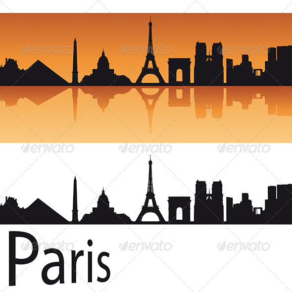 590x590 Paris Skyline In Orange Background By Paulrommer Graphicriver