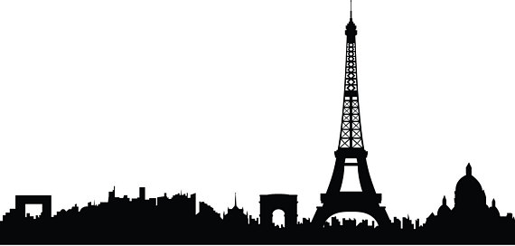 570x272 Paris Skyline France Travel Vinyl Wall Art Decal Custom