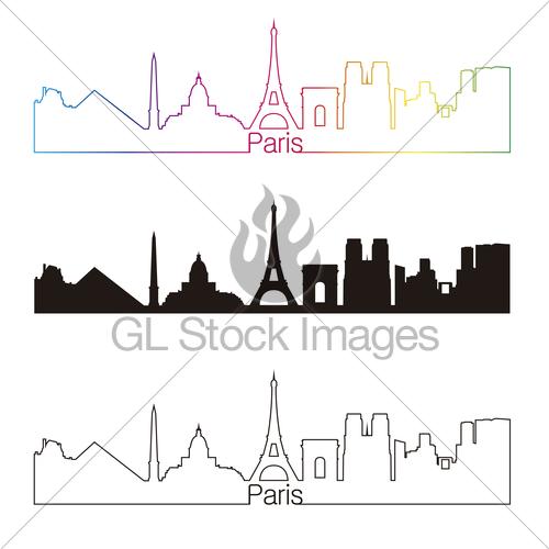 500x500 Paris Skyline Linear Style With Rainbow Gl Stock Images