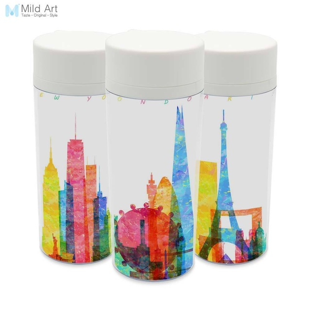 640x640 Personalized Modern Watercolor City Silhouette Bpa Free Plastic