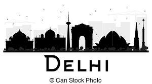 300x167 Delhi City Skyline Black And White Silhouette. Vector Eps