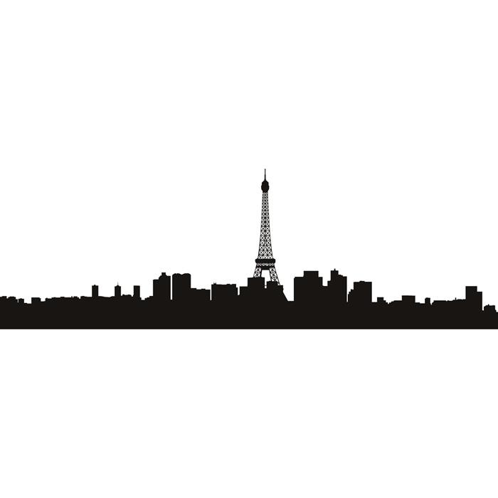 700x700 Paris Skyline Wall Sticker Eiffel Tower Wall Decal Bedroom Living