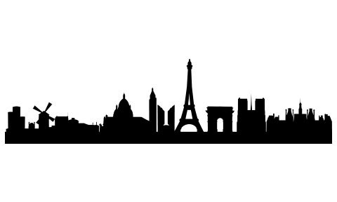 480x288 Stickers For Paris Skyline Silhouette Wall Sticker