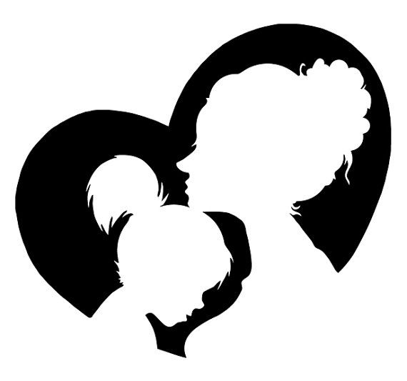 570x533 Mother Daughter Silhouette Clip Art