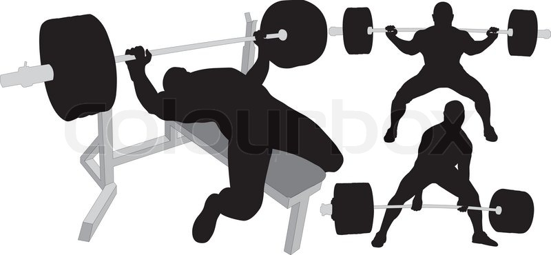 800x370 Powerlifting, Weightlifting Or Bodybuilding Vector Silhouettes