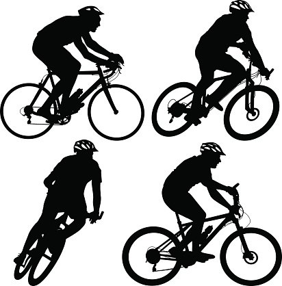 412x418 Set Silhouette Of A Cyclist Male And Vector Illustratio Stock