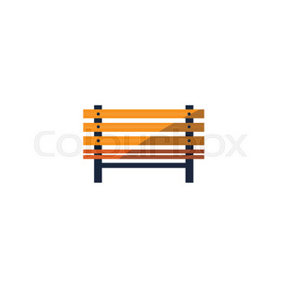 320x320 Wooden Outdoor Park Bench Vector Cartoon Illustration Isolated