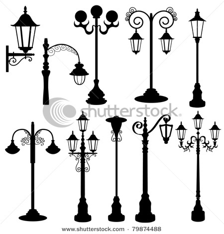 450x470 Clipart Silhouette Of Person On A Bench Near Street Lamp