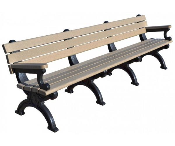 600x500 8 Foot Silhouette Park Bench With Arm Rest