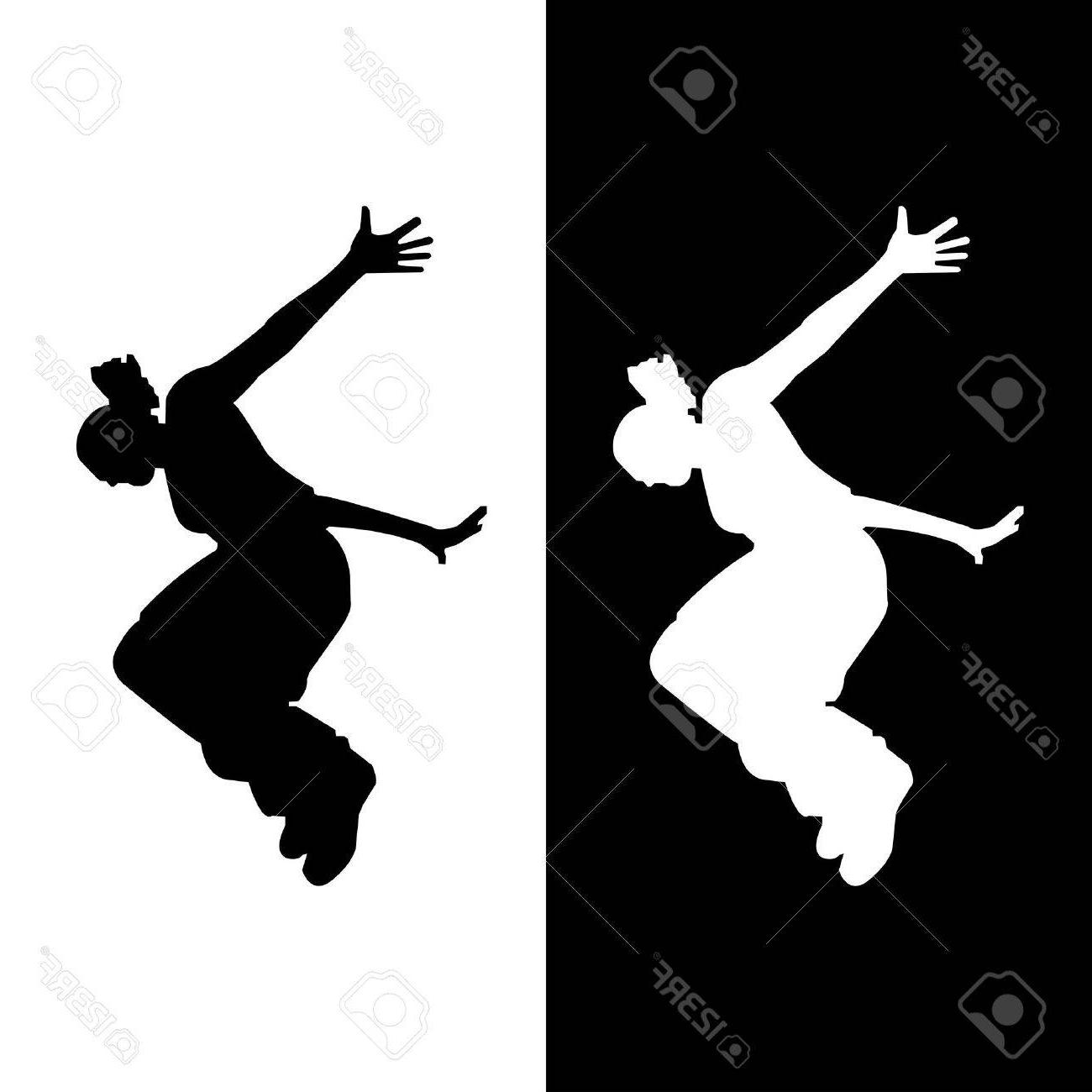 1300x1300 Unique Vector Silhouette Of Woman Who Does Parkour In City