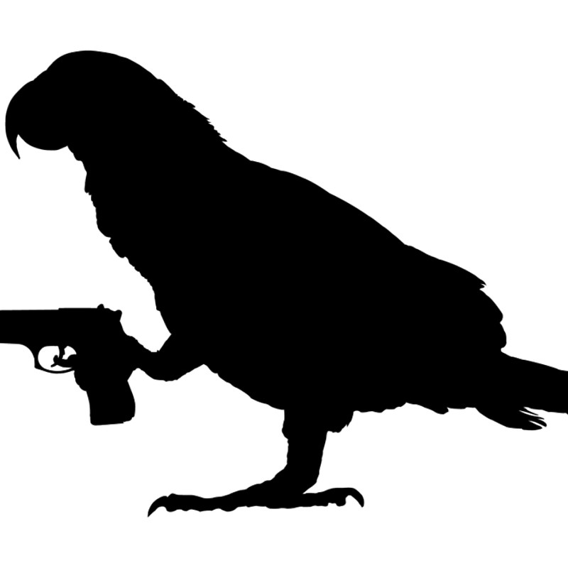 800x800 African Grey Parrot Holding A Gun Laptop Sleeves By Vectorview