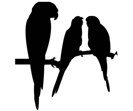 456x380 Free Vector Parrot Silhouettes, Clip Arts