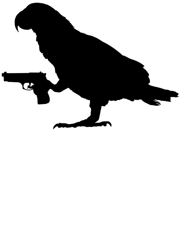 600x800 African Grey Parrot Holding A Gun Stickers By Vectorview Redbubble