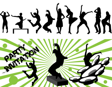 456x357 Free Vector Art Dance Party Silhouettes, Vector Image