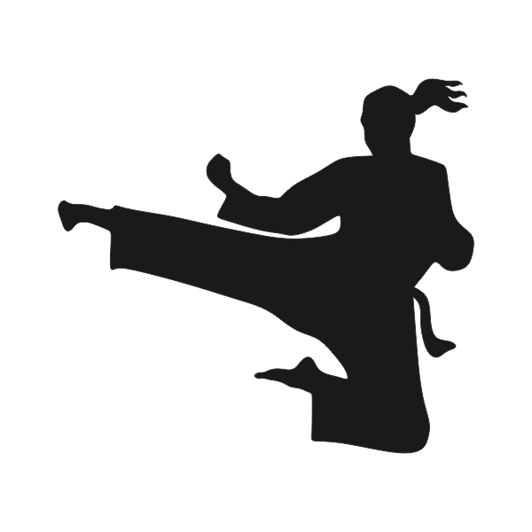 600x600 Karate Girl Kick Silhouette