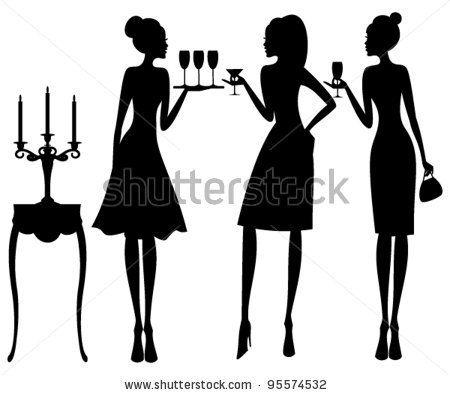 450x395 Vector Illustration Of Three Young Elegant Women