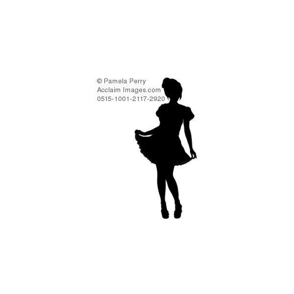 600x600 Clip Art Illustration Of A Party Girl Silhouette