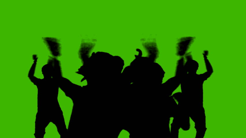852x480 Silhouette People Party On Green Screen Stock Footage Video