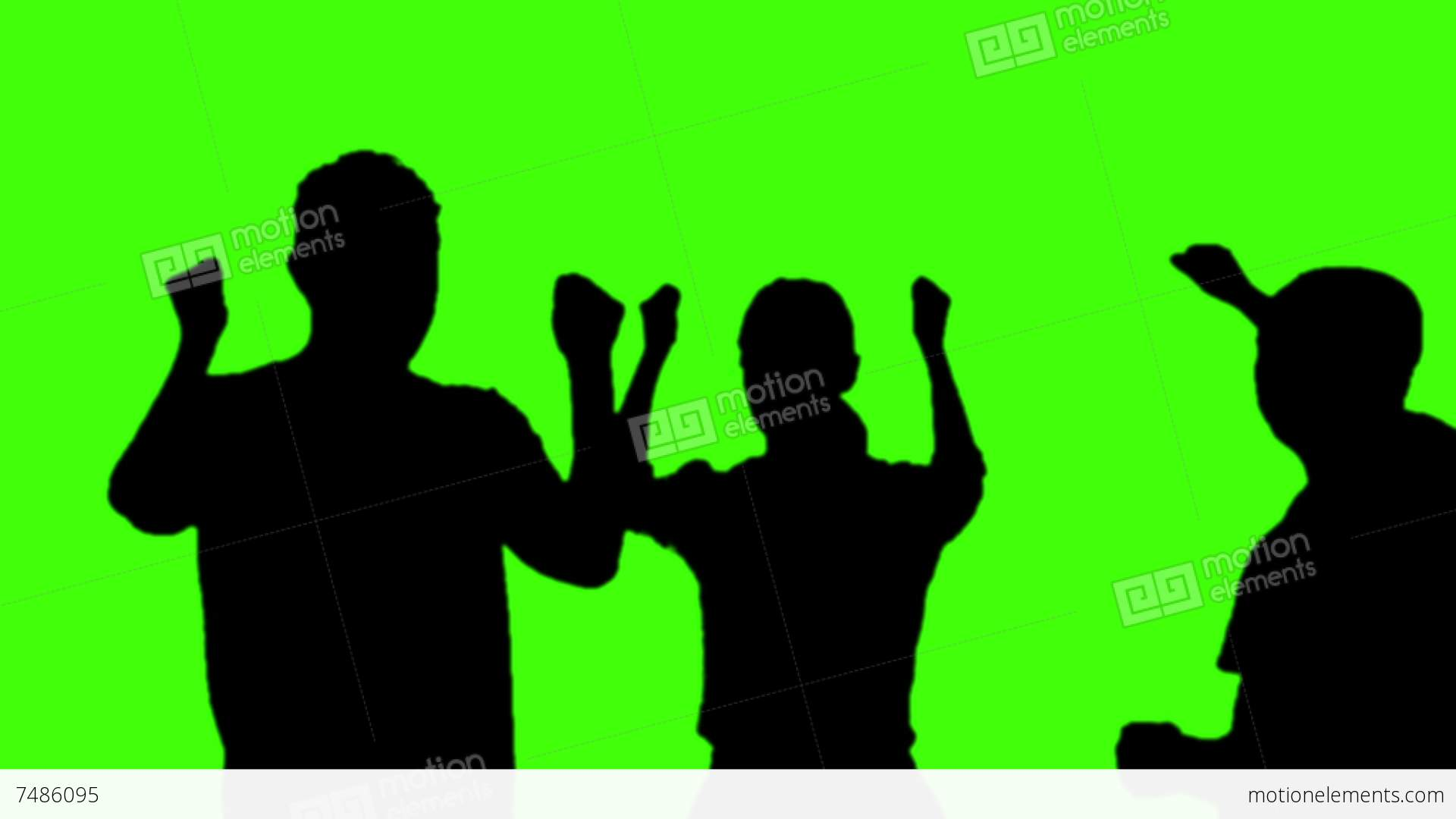 1920x1080 Silhouette People Party On Green Screen Stock Video Footage 7486095