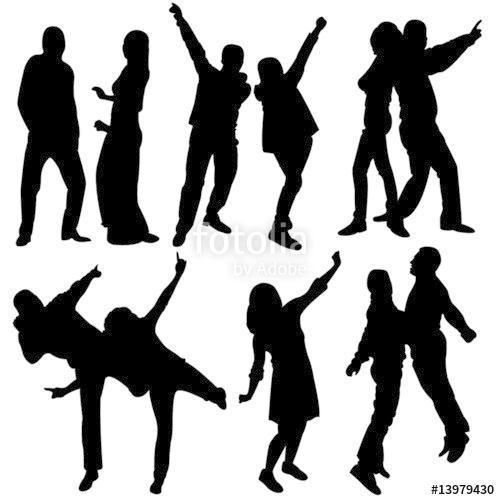 500x500 Silhouette People Party Dance Stock Image And Royalty Free Vector
