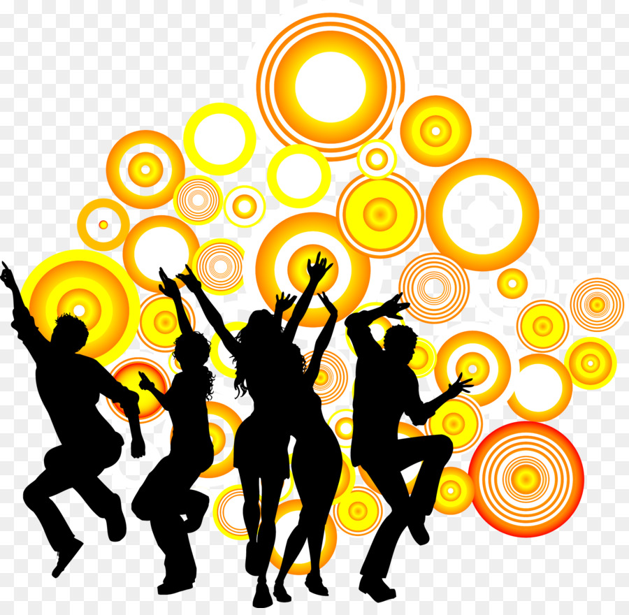 900x880 Dance Party Silhouette Royalty Free