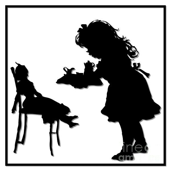 600x600 Dolly Tea Party Silhouette Imprimer Par Rose Santuci Sofranko