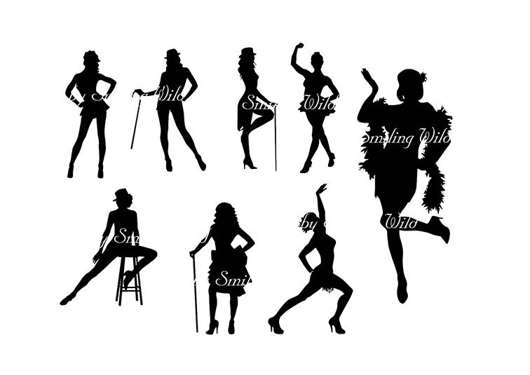 756x535 Cabaret Dancer Party Svg Silhouette Clipart Dancing Woman Png