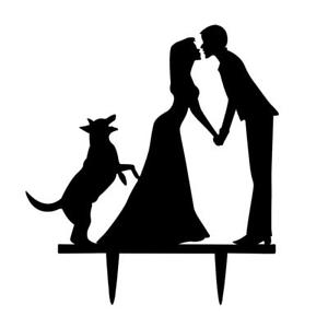 300x300 Acrylic Black Bride Amp Groom With Dog Silhouette For Wedding Party
