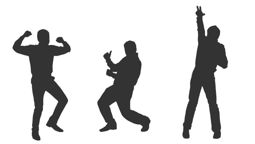 852x480 Boys Rock Party Dance In Silhouettes, Full Hd Shot With Alpha