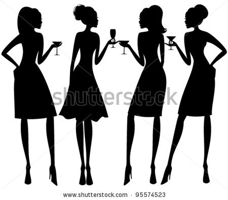 450x395 Vector Illustration Of Four Young Elegant Women