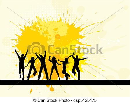 450x356 Grunge Party. Silhouettes Of People Dancing On A Grunge Clipart