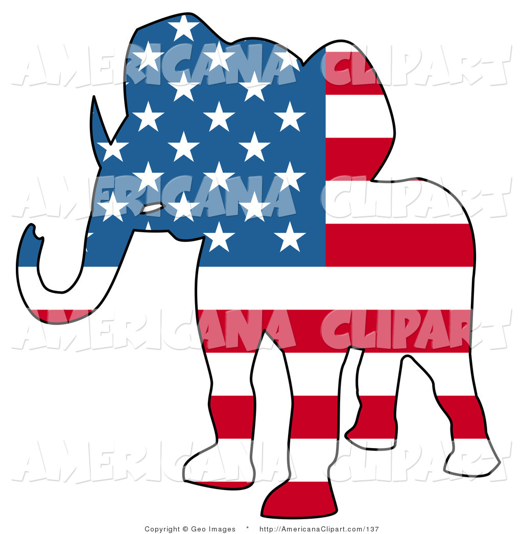 1024x1044 Americana Vector Clip Art Of A Patriotic Republican Elephant