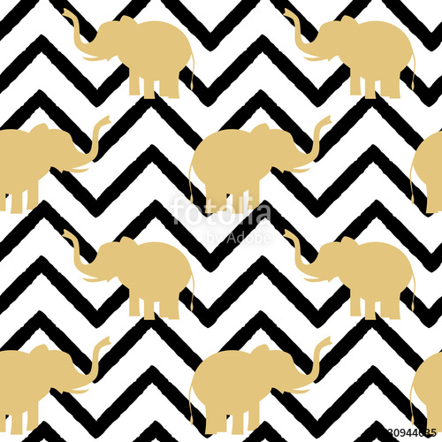 500x500 Elephant Gold Silhouette On Abstract Black Chevron Pattern
