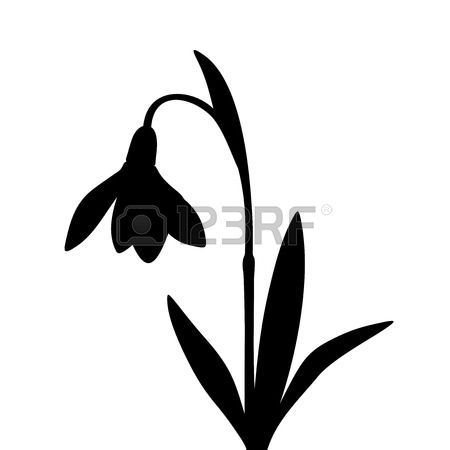 450x450 Vector Black Silhouette Of A Snowdrop Flower Isolated On A White