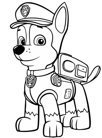 357x480 Paw Patrol Chase Coloring Page Free Printable Pages
