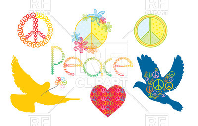 400x256 Pacifism (Peace) Symbols And Dove Silhouette Royalty Free Vector