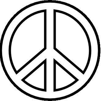333x330 Clip Art Peace Sign 18 Black White Line Art
