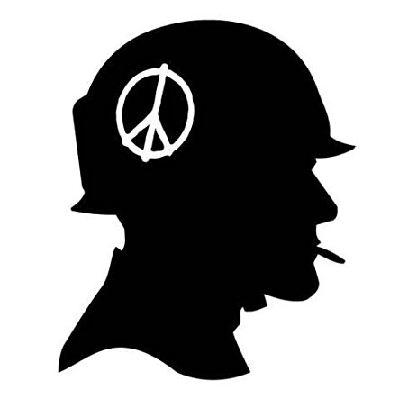 463x463 Vietnam Soldier With Peace Sign Silhouette Car Decal