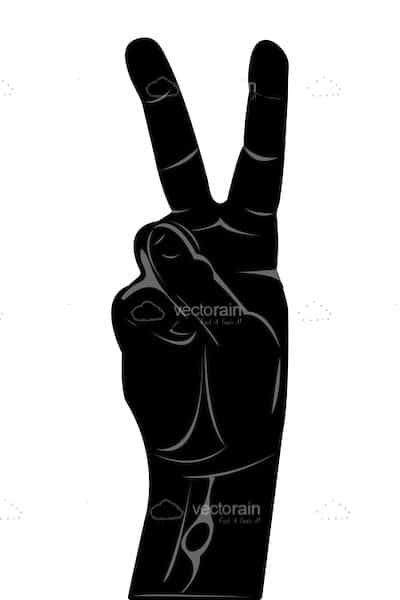 400x600 Abstract Hand Silhouette With Victorypeace Sign