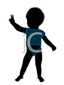 225x300 Silhouette Of An African American Boy Toddler Making The Peace