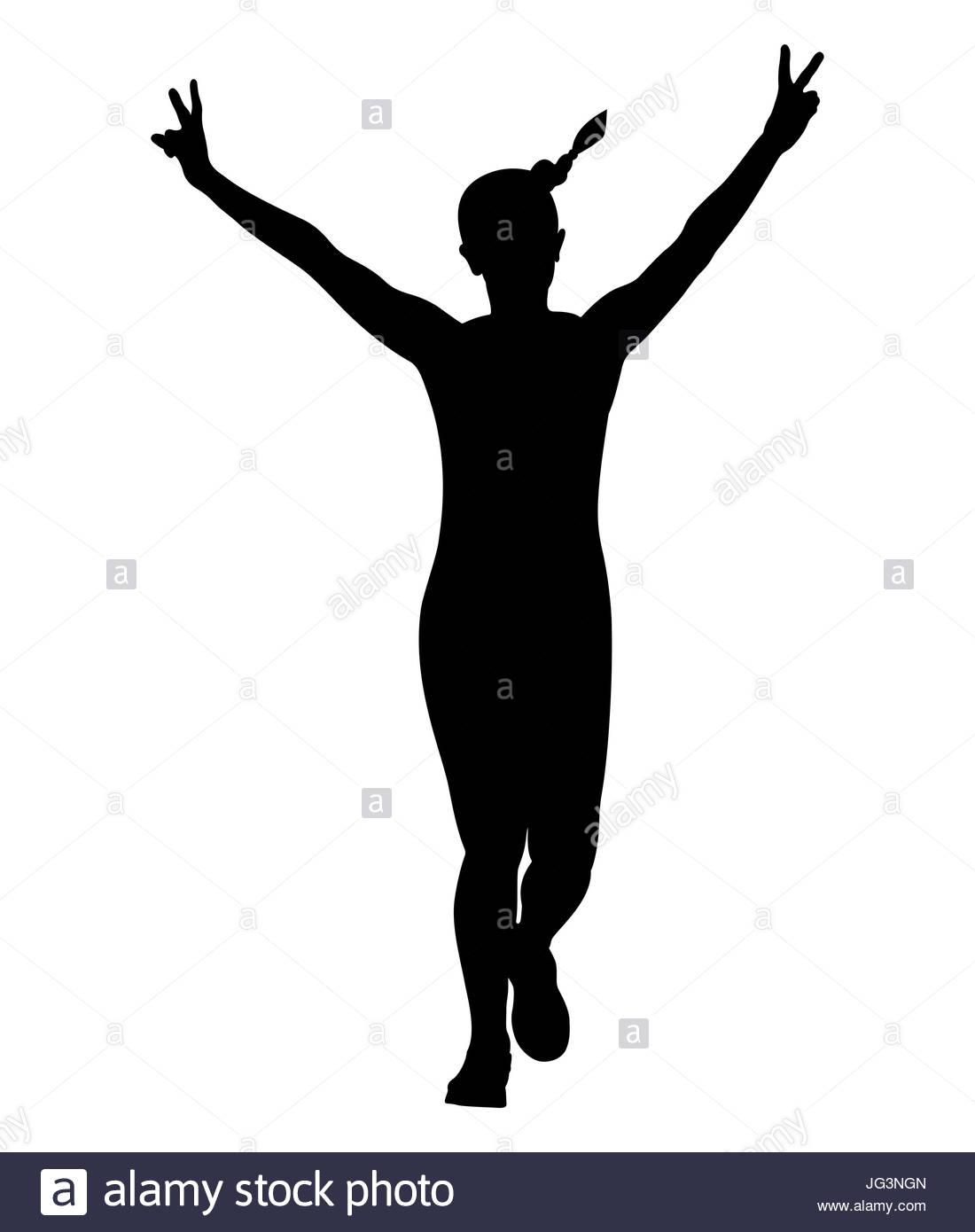 1100x1390 Girl Running Hand Peace Symbols Black Silhouette Stock Photo