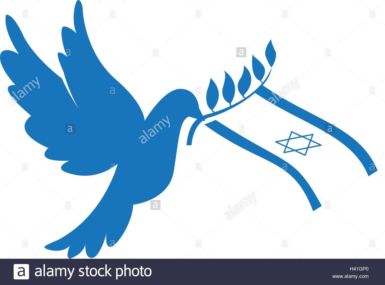 1300x965 Isolated Silhouette Of A Pigeon With A Flag Of Israel, Peace